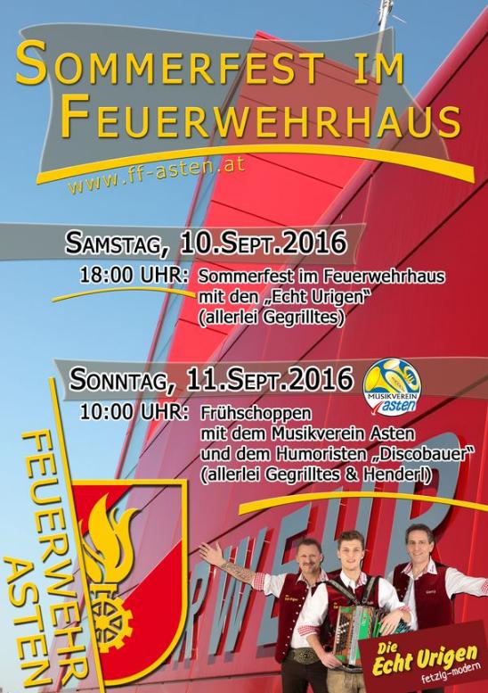 Sommerfest der FF-Asten 10.09 Beginn der Echt Urigen 20.30h